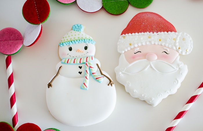 Snow Man and Santa Claus Cookies from a Holiday Pajama Party on Kara's Party Ideas | KarasPartyIdeas.com (15)