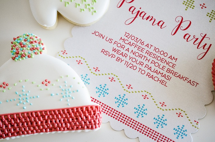 Cross Stitch Winter Hat Cookie from a Holiday Pajama Party on Kara's Party Ideas | KarasPartyIdeas.com (14)