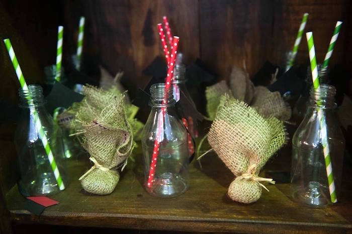 Drink bottles and burlap favor pouches from a How to Train Your Dragon Birthday Party on Kara's Party Ideas | KarasPartyIdeas.com (31)