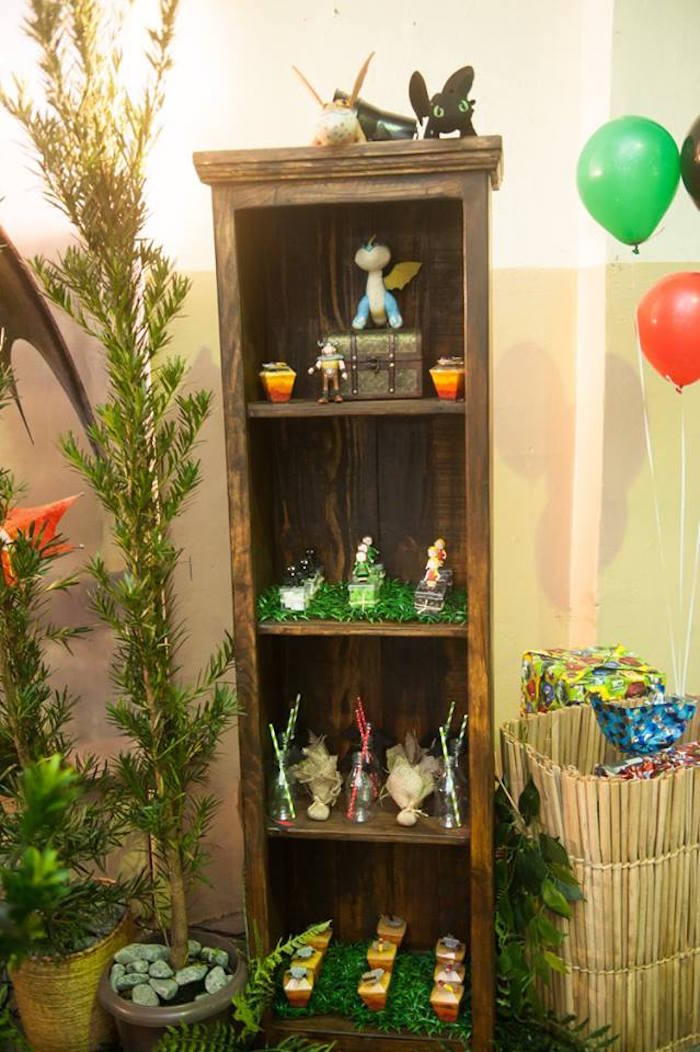 Favor shelf from a How to Train Your Dragon Birthday Party on Kara's Party Ideas | KarasPartyIdeas.com (24)