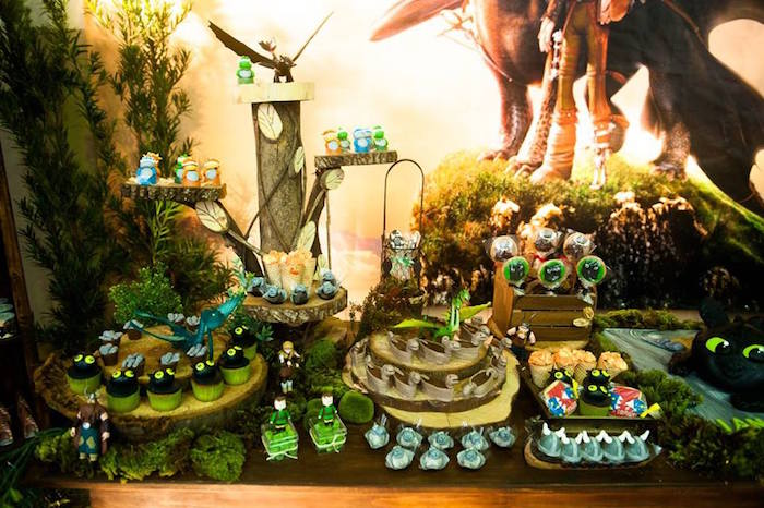 Dessert tablescape from a How to Train Your Dragon Birthday Party on Kara's Party Ideas | KarasPartyIdeas.com (18)