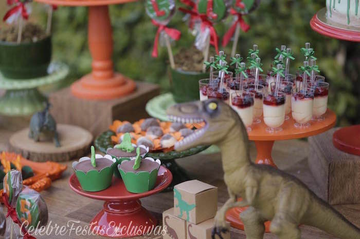 Cupcakes & dessert cups from a Jurassic Dinosaur Birthday Party on Kara's Party Ideas | KarasPartyIdeas.com (6)