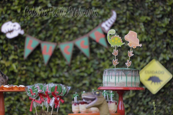 Dinosaur cake from a Jurassic Dinosaur Birthday Party on Kara's Party Ideas | KarasPartyIdeas.com (5)