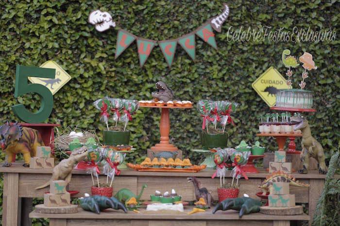 Dinosaur dessert table from a Jurassic Dinosaur Birthday Party on Kara's Party Ideas | KarasPartyIdeas.com (3)