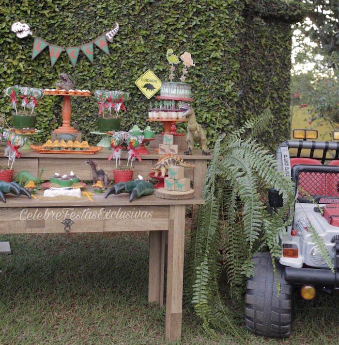 Dinosaur dessert spread from a Jurassic Dinosaur Birthday Party on Kara's Party Ideas | KarasPartyIdeas.com (12)