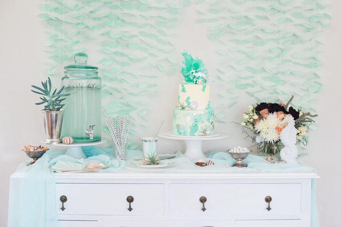 Cake and beverage table from a Majestic Under the Sea Birthday Party on Kara's Party Ideas | KarasPartyIdeas.com (52)