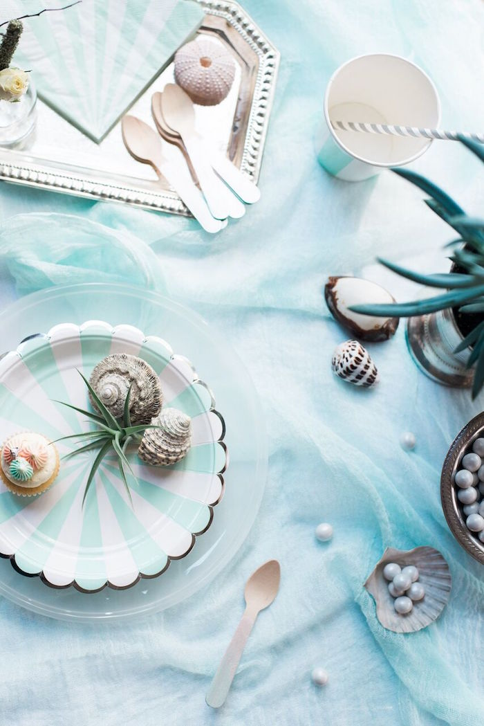 Plate + partyware from a Majestic Under the Sea Birthday Party on Kara's Party Ideas | KarasPartyIdeas.com (49)