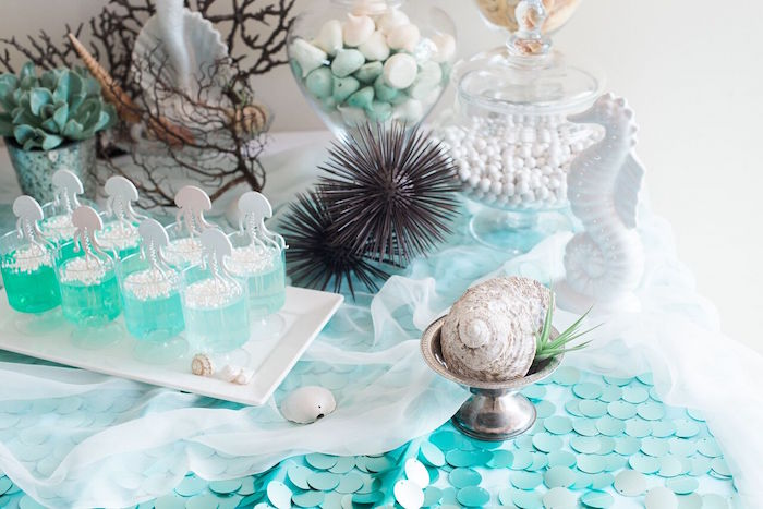 Dessert table detail from a Majestic Under the Sea Birthday Party on Kara's Party Ideas | KarasPartyIdeas.com (41)