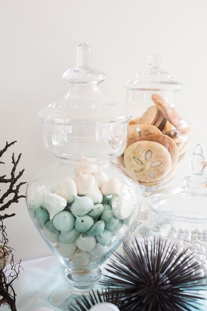 Apothecary jars full of meringue kisses and cookies from a Majestic Under the Sea Birthday Party on Kara's Party Ideas   KarasPartyIdeas.com (38)