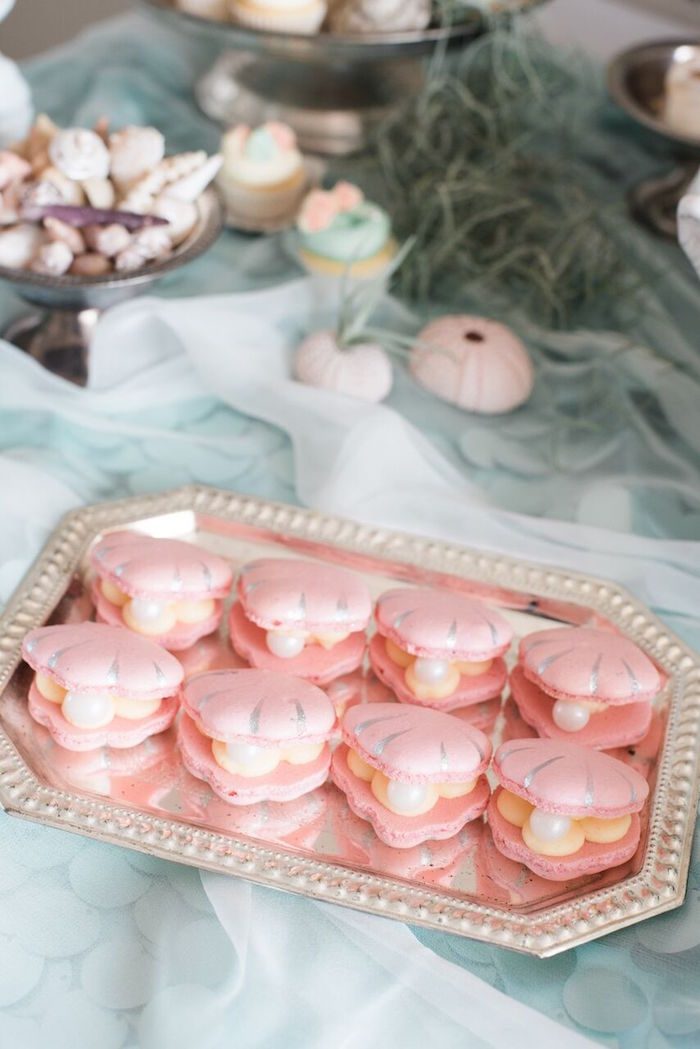 Clam macarons from a Majestic Under the Sea Birthday Party on Kara's Party Ideas   KarasPartyIdeas.com (34)