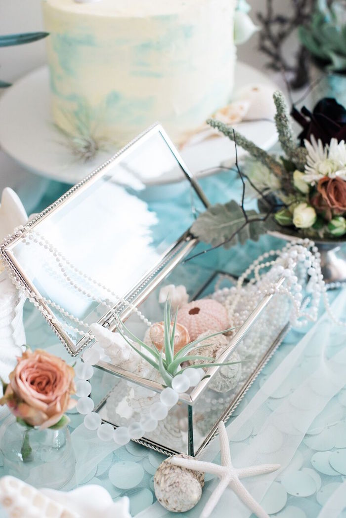Glass treasure chest from a Majestic Under the Sea Birthday Party on Kara's Party Ideas | KarasPartyIdeas.com (33)
