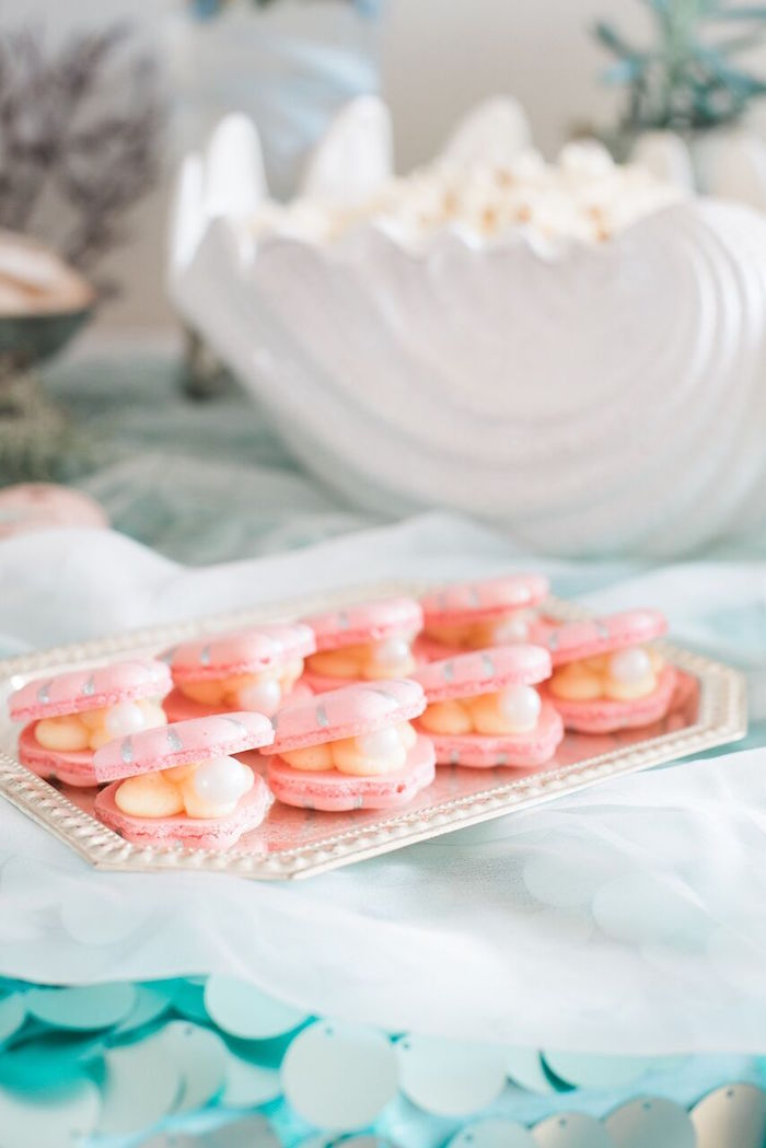 Clam macarons from a Majestic Under the Sea Birthday Party on Kara's Party Ideas | KarasPartyIdeas.com (31)