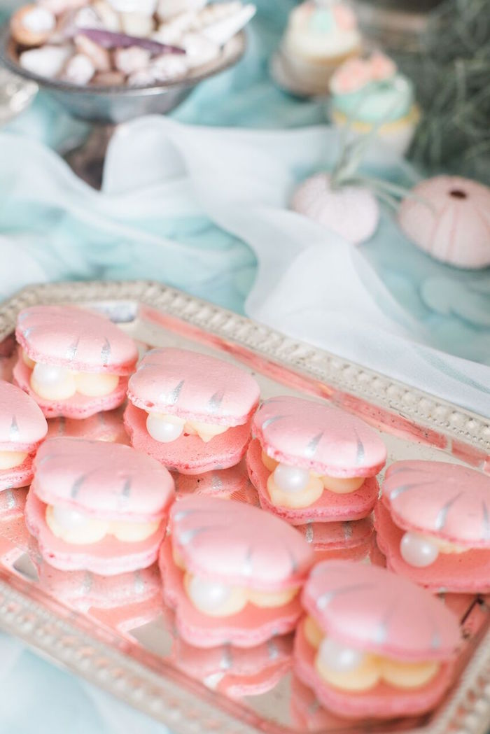 Clam macarons from a Majestic Under the Sea Birthday Party on Kara's Party Ideas   KarasPartyIdeas.com (26)