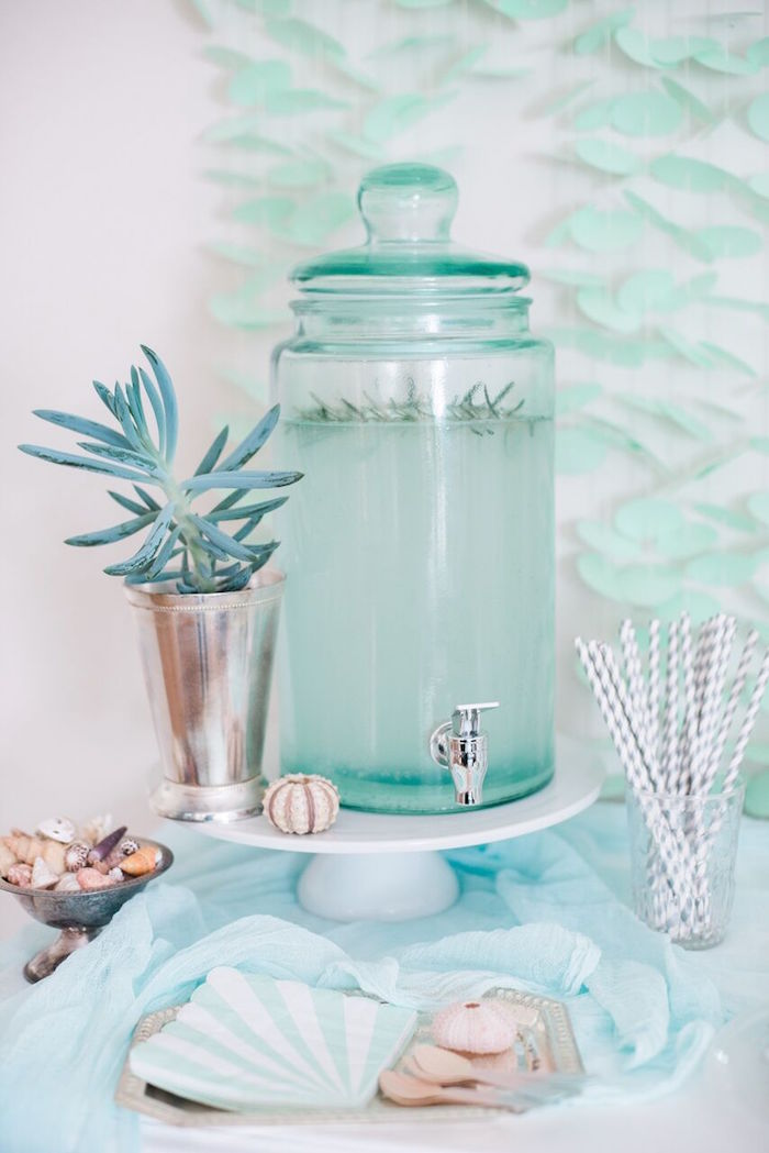 Beverage dispenser from a Majestic Under the Sea Birthday Party on Kara's Party Ideas | KarasPartyIdeas.com (60)