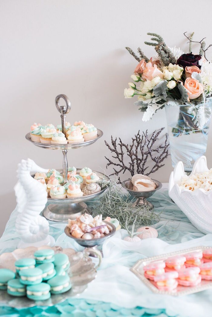 Dessert table detail from a Majestic Under the Sea Birthday Party on Kara's Party Ideas | KarasPartyIdeas.com (23)