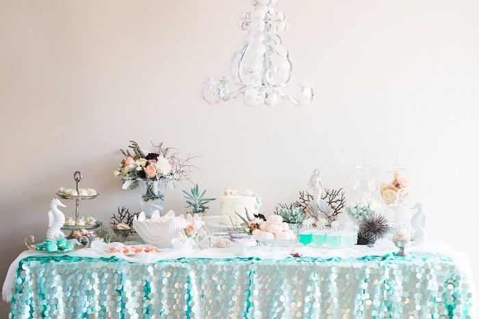 Dessert table from a Majestic Under the Sea Birthday Party on Kara's Party Ideas | KarasPartyIdeas.com (13)