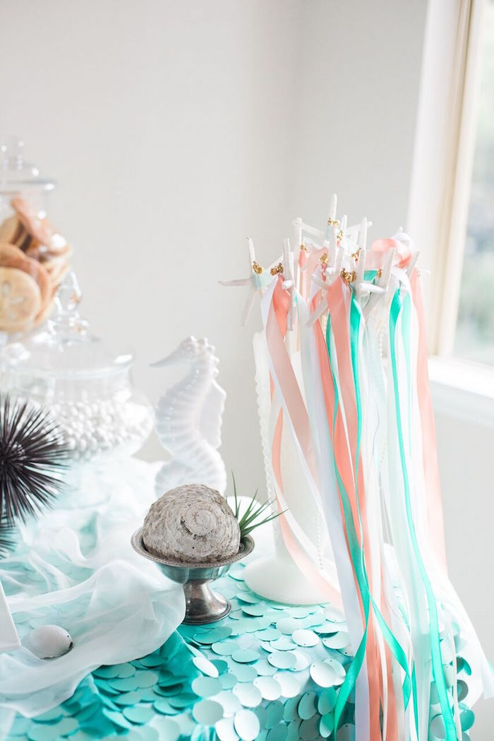 Tassel wands from a Majestic Under the Sea Birthday Party on Kara's Party Ideas | KarasPartyIdeas.com (10)