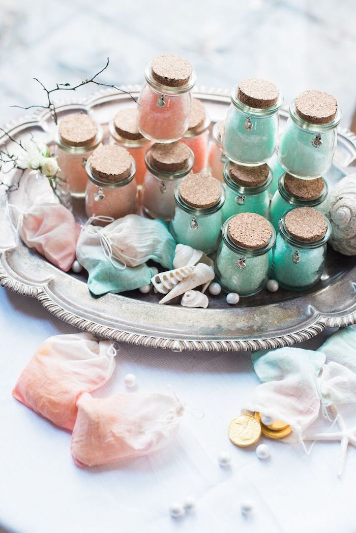 Corked favor jars and ombre bags from a Majestic Under the Sea Birthday Party on Kara's Party Ideas | KarasPartyIdeas.com (54)
