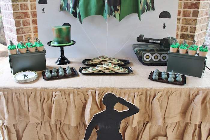 Dessert spread from a Military Toy Soldier Birthday Party on Kara's Party Ideas | KarasPartyIdeas.com (10)