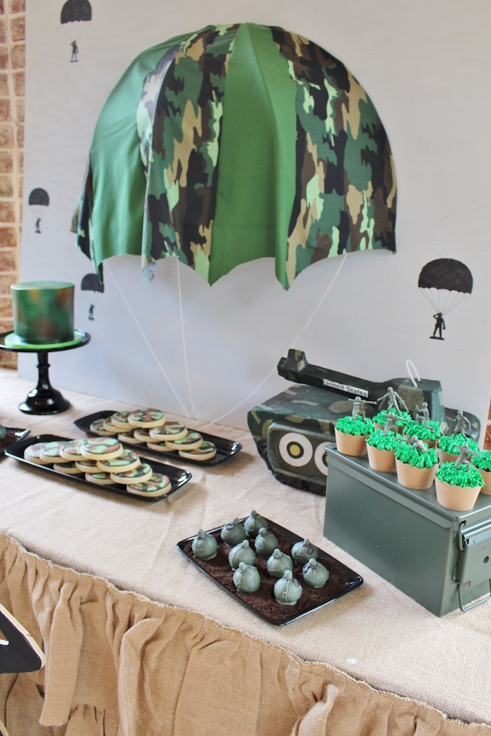 Army dessert table from a Military Toy Soldier Birthday Party on Kara's Party Ideas | KarasPartyIdeas.com (9)