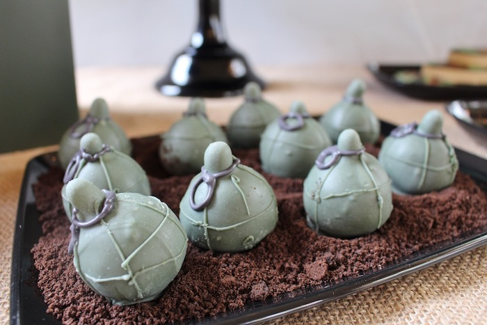 Grenade cake balls from a Military Toy Soldier Birthday Party on Kara's Party Ideas | KarasPartyIdeas.com (19)