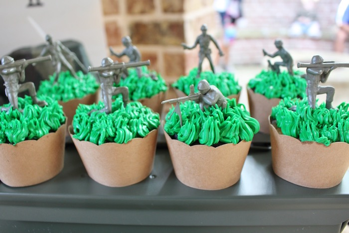 Toy soldier cupcakes from a Military Toy Soldier Birthday Party on Kara's Party Ideas | KarasPartyIdeas.com (15)