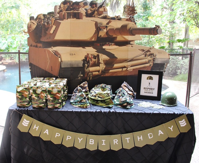 Favor table from a Military Toy Soldier Birthday Party on Kara's Party Ideas | KarasPartyIdeas.com (14)