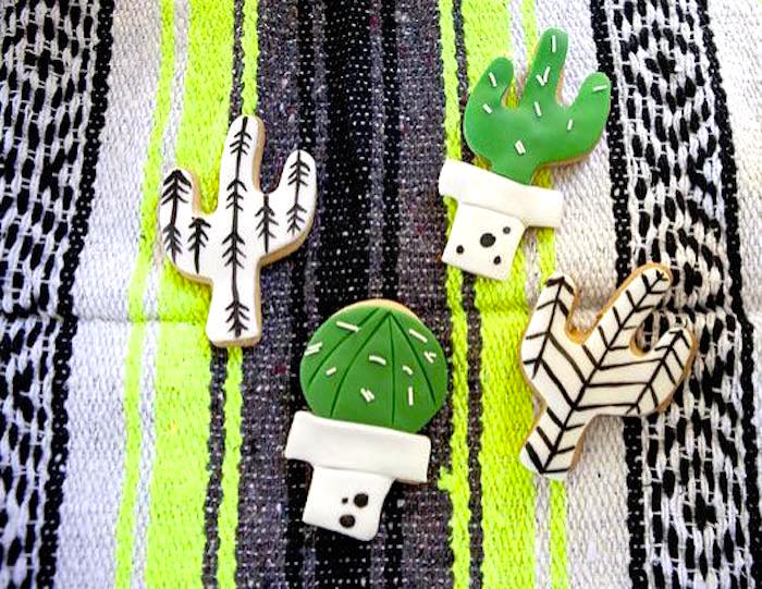 Cactus cookies from a Modern Cactus Themed Fiesta on Kara's Party Ideas | KarasPartyIdeas.com (22)