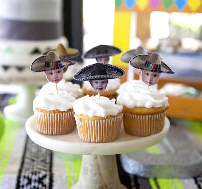 Cupcakes with custom photo picks from a Modern Cactus Themed Fiesta on Kara's Party Ideas | KarasPartyIdeas.com (14)