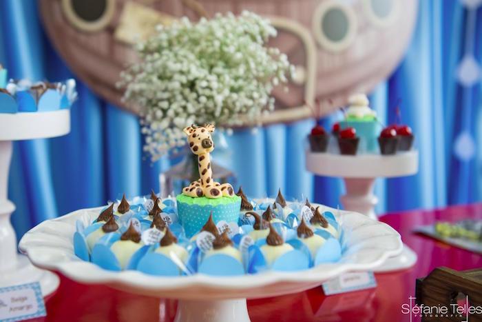 Giraffe cupcake and truffles from a Noah's Ark Birthday Party on Kara's Party Ideas | KarasPartyIdeas.com (9)
