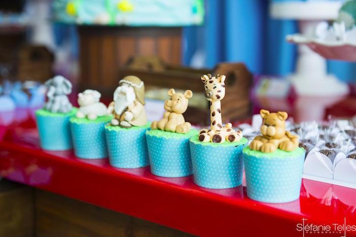 Noah's Ark cupcakes from a Noah's Ark Birthday Party on Kara's Party Ideas | KarasPartyIdeas.com (8)
