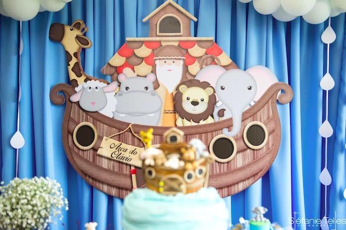 Noah's Ark backdrop from a Noah's Ark Birthday Party on Kara's Party Ideas | KarasPartyIdeas.com (6)
