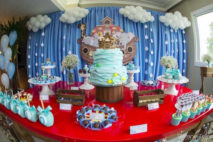 Noah's Ark dessert table from a Noah's Ark Birthday Party on Kara's Party Ideas | KarasPartyIdeas.com (16)