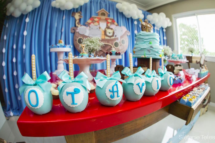 Chocolate covered letter apples from a Noah's Ark Birthday Party on Kara's Party Ideas | KarasPartyIdeas.com (15)