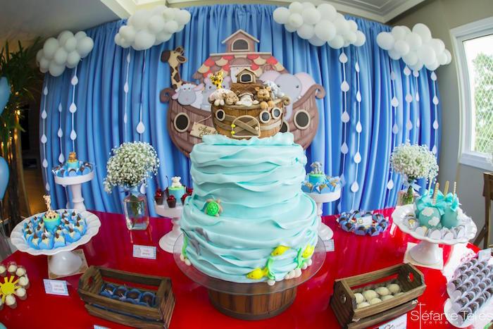 Noah's Ark cakescape from a Noah's Ark Birthday Party on Kara's Party Ideas | KarasPartyIdeas.com (14)