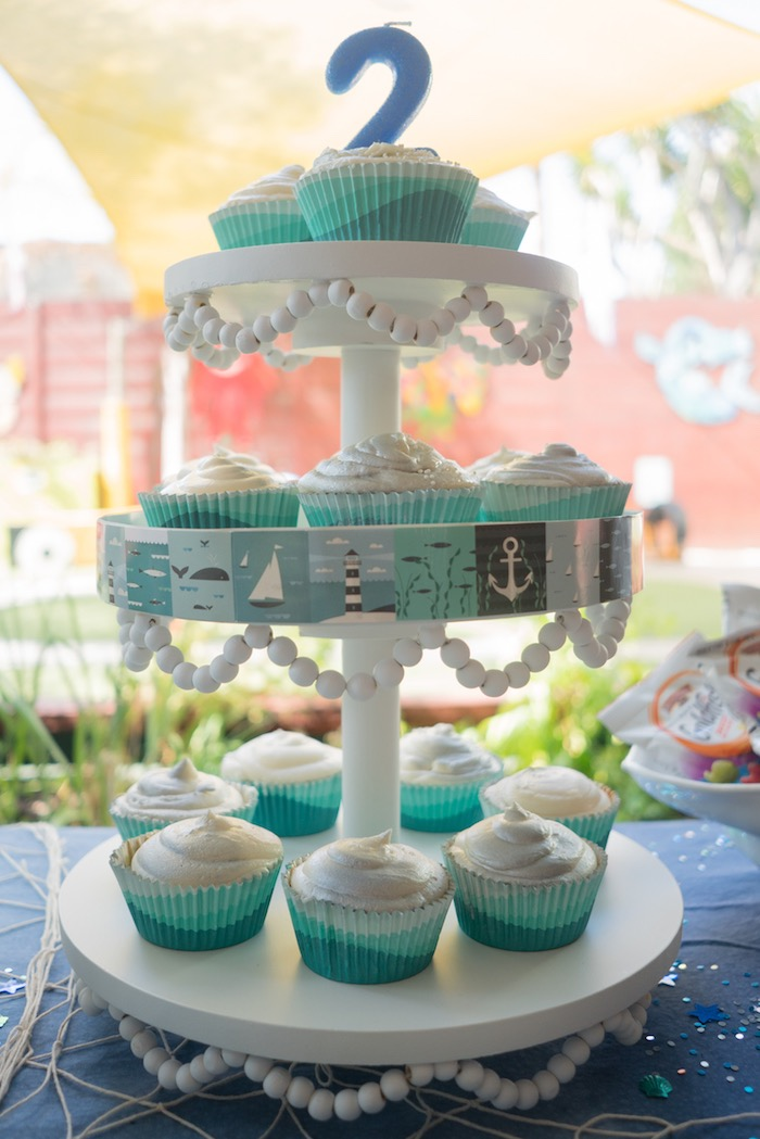 Cupcake stand from an Ombre Under the Sea + Ocean Birthday Party on Kara's Party Ideas | KarasPartyIdeas.com (26)