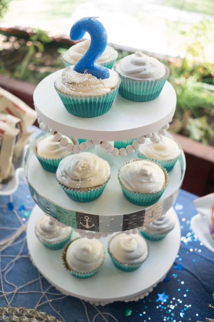 Cupcakes from an Ombre Under the Sea + Ocean Birthday Party on Kara's Party Ideas | KarasPartyIdeas.com (24)