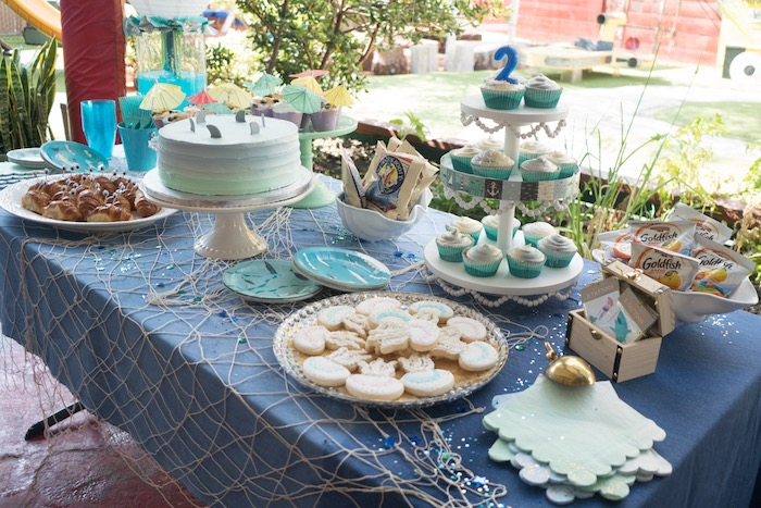 Ocean-inspired dessert spread from an Ombre Under the Sea + Ocean Birthday Party on Kara's Party Ideas | KarasPartyIdeas.com (23)