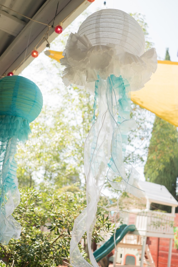 Paper lantern jellyfish from an Ombre Under the Sea + Ocean Birthday Party on Kara's Party Ideas | KarasPartyIdeas.com (20)