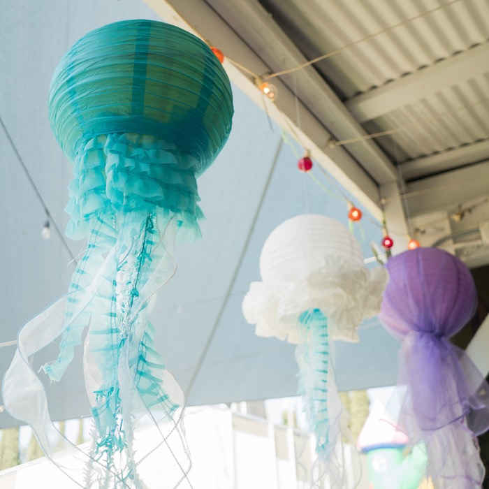 Jellyfish paper lanterns from an Ombre Under the Sea + Ocean Birthday Party on Kara's Party Ideas | KarasPartyIdeas.com (19)