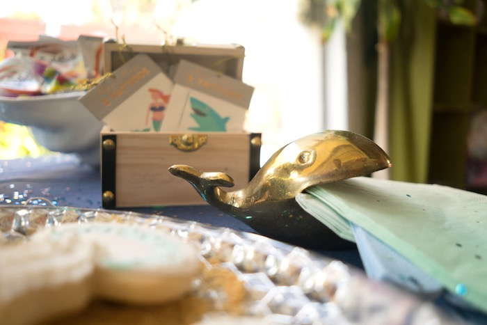 Gold whale napkin holder from an Ombre Under the Sea + Ocean Birthday Party on Kara's Party Ideas | KarasPartyIdeas.com (17)