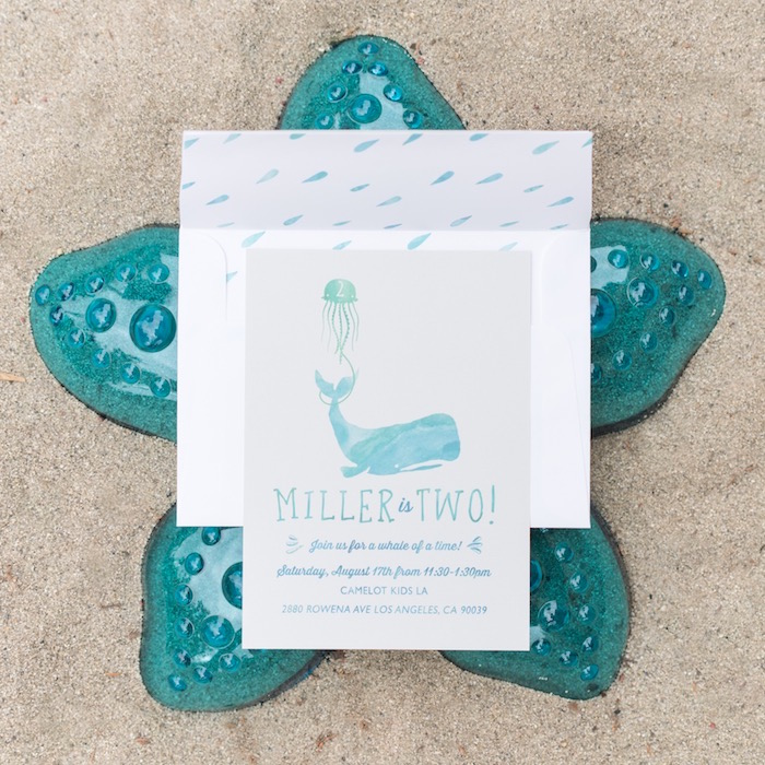 Whale invitation from an Ombre Under the Sea + Ocean Birthday Party on Kara's Party Ideas | KarasPartyIdeas.com (35)