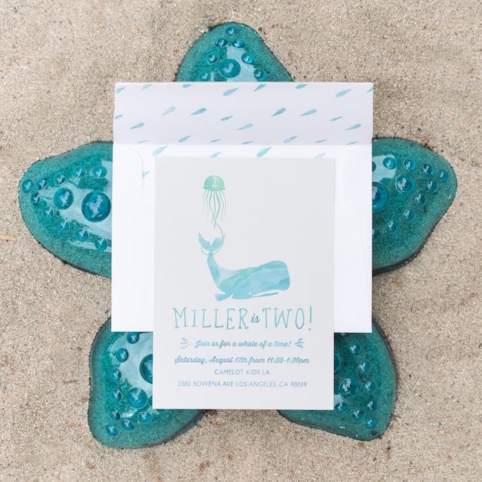 Whale invitation from an Ombre Under the Sea + Ocean Birthday Party on Kara's Party Ideas | KarasPartyIdeas.com (35)