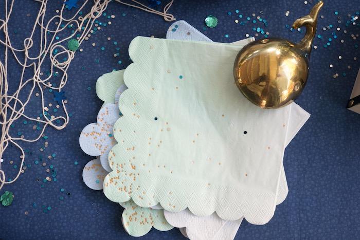 Ombre scalloped napkins from an Ombre Under the Sea + Ocean Birthday Party on Kara's Party Ideas | KarasPartyIdeas.com (14)