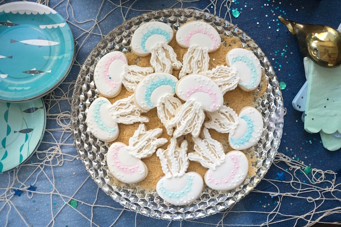 Jellyfish cookies from an Ombre Under the Sea + Ocean Birthday Party on Kara's Party Ideas | KarasPartyIdeas.com (13)