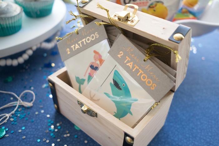 Temporary mermaid and shark tattoos from an Ombre Under the Sea + Ocean Birthday Party on Kara's Party Ideas | KarasPartyIdeas.com (11)
