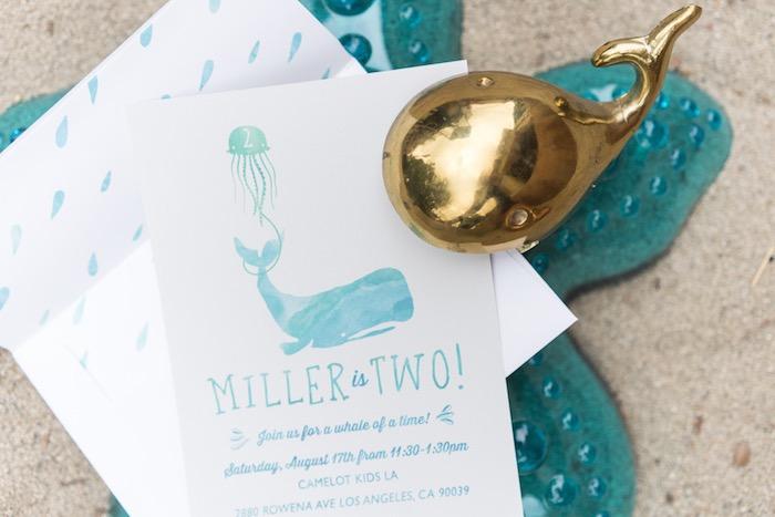 Whale invitation from an Ombre Under the Sea + Ocean Birthday Party on Kara's Party Ideas | KarasPartyIdeas.com (34)