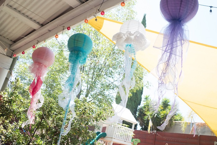 Paper lantern jellyfish from an Ombre Under the Sea + Ocean Birthday Party on Kara's Party Ideas | KarasPartyIdeas.com (6)