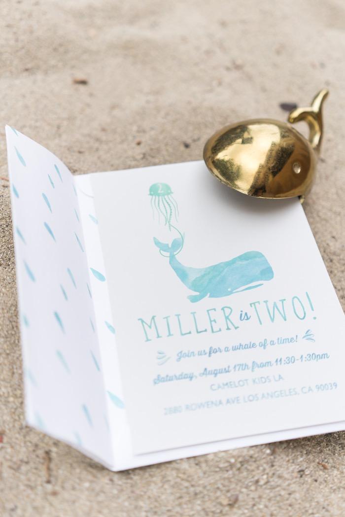 Whale invitation from an Ombre Under the Sea + Ocean Birthday Party on Kara's Party Ideas | KarasPartyIdeas.com (33)