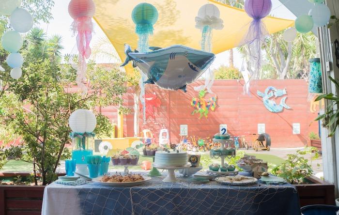 Ocean dessert table from an Ombre Under the Sea + Ocean Birthday Party on Kara's Party Ideas | KarasPartyIdeas.com (32)